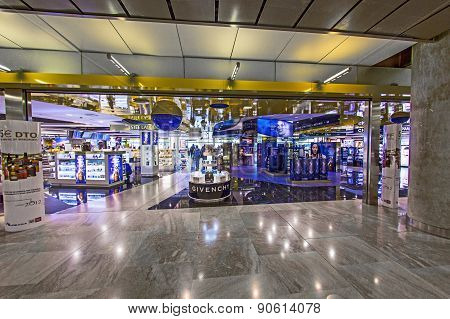 Passengers in the  Terminal T4 At Barajas Airport On April 1,2012 In Madrid. This Additio