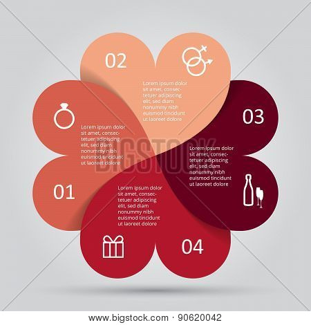 Modern heart infographics options banner.