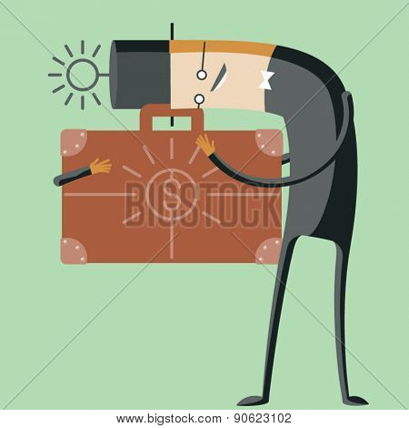 Vector illustration of abstract funny characters. Greedy businessman hold about briefcase with money