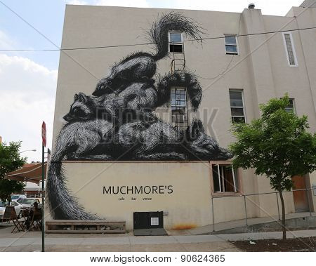 Mural art by Belgian Artist Roa at East Williamsburg in Brooklyn