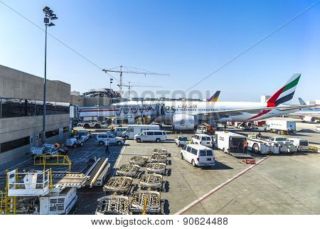 Emirates Airlines Jet Boeing 767  Parking On Gate Position