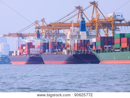 Commercial Ship Loading Container In Shipping Port Image Use For Import ,export Nautical Vessel Tran