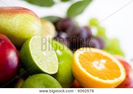 fresh ripe fruits isolated on white background