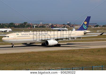 Saudi Arabian Airlines Airbus A330-300 Airplane Istanbul Airport