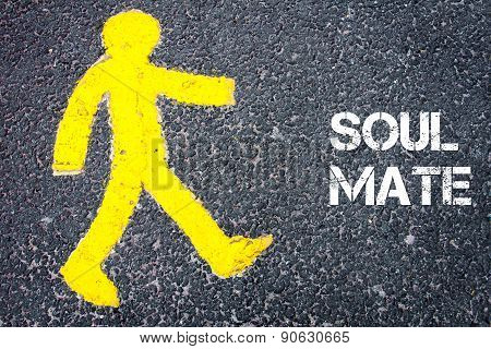 Yellow Pedestrian Figure Walking Towards Soul Mate