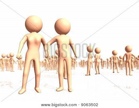 Abstract Couple Holding Hands Among Crowd