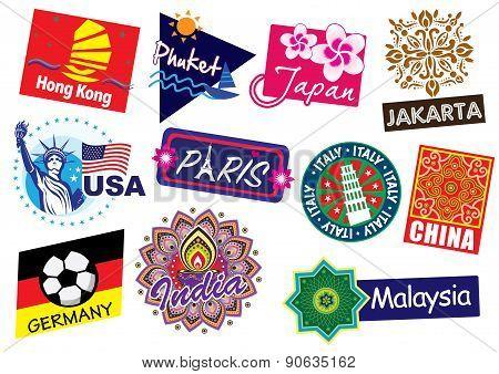 World country travel landmark stamp set