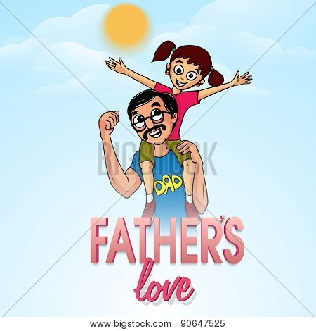 Cute little girl sitting on her father's shoulder on occasion of Happy Father's Day celebration.