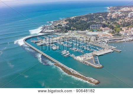 Aerial view of Cascais coastline near Lisbon in Portugal poster