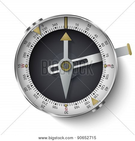 Classic Compass With Long Phosphor Isolated On White Background
