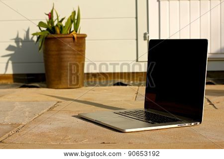 Laptop Outside On Patio