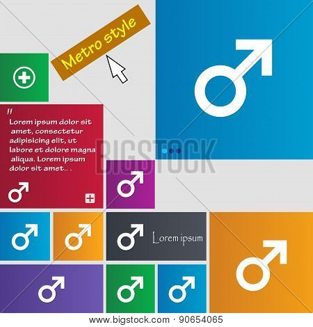 Male Sex Icon Sign. Metro Style Buttons. Modern Interface Website Buttons With Cursor Pointer. Vecto