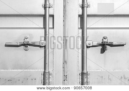 Close - up container shipping door at dockyard