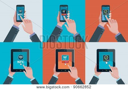 Hands Smartphones And Tablets