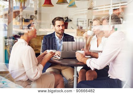 Business meeting in a cafe