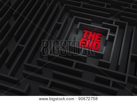"""A spotlight reveals a red """"THE END"""" at the center of a dark maze. poster"""