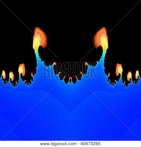 Abstract Fractal Flames Salient From Blue Plasma