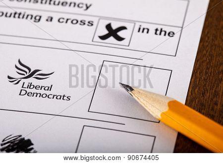 Liberal Democrats On A Uk Ballot Paper