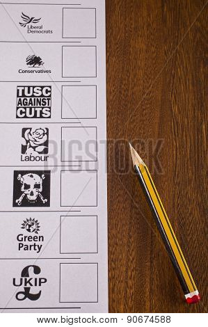 Uk Ballot Paper For A General Election