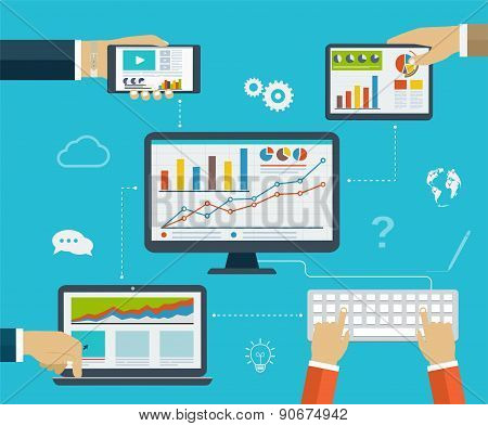 Business Infographics By Using Modern Of Digital Devices For Internet Browsing, Reporting, Statistic