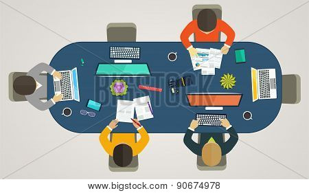 Teamwork For Computers Online. Business Strategy, Development Projects, Office Life