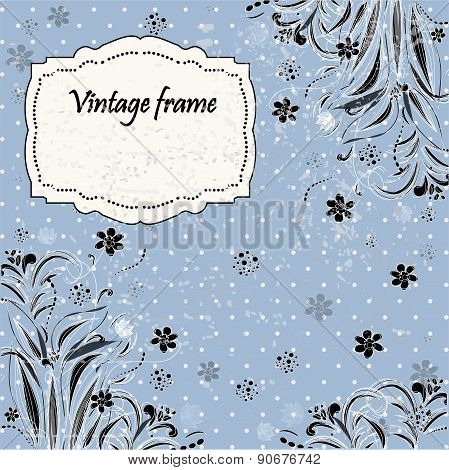 Invitation cards in a retro style with flowers background