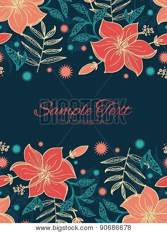 Vector vibrant tropical hibiscus flowers vertical double borders frame invitation template
