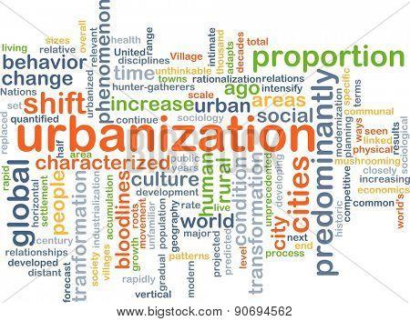 Background concept wordcloud illustration of urbanization