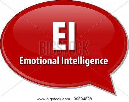 word speech bubble illustration of business acronym term EI emotional intelligence poster