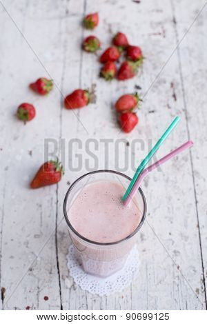 Strawberry And Banana Smoothie Healthy Dring With Yogurt