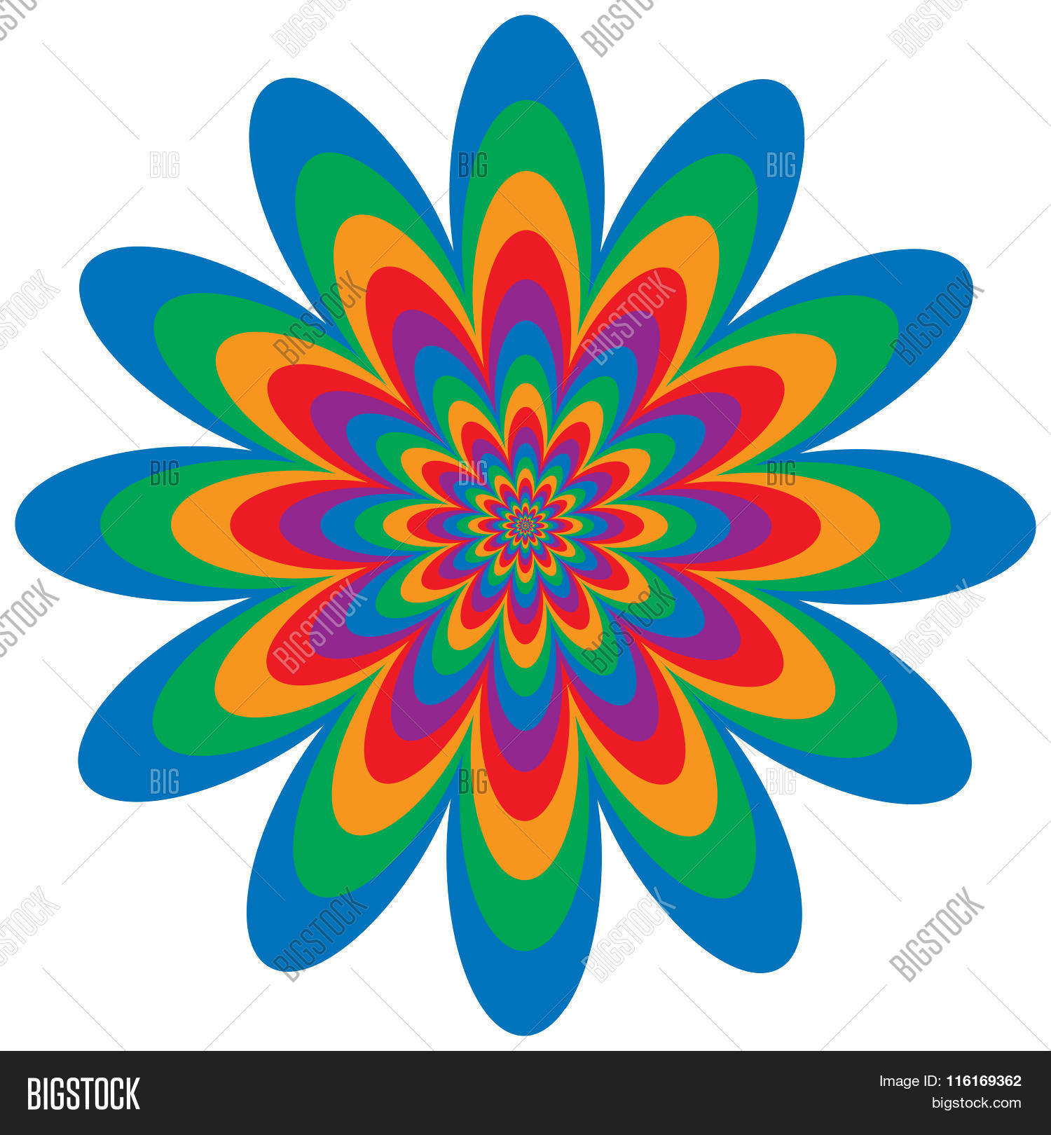 Op Art Flower Optical Illusion Design In Primary And Secondary Colors Are Grouped For