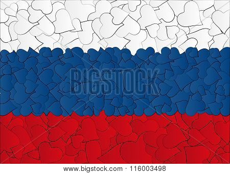 Hearts doodles hand drawn flag Russia, Moscow, with love from Russia, a lot of hearts