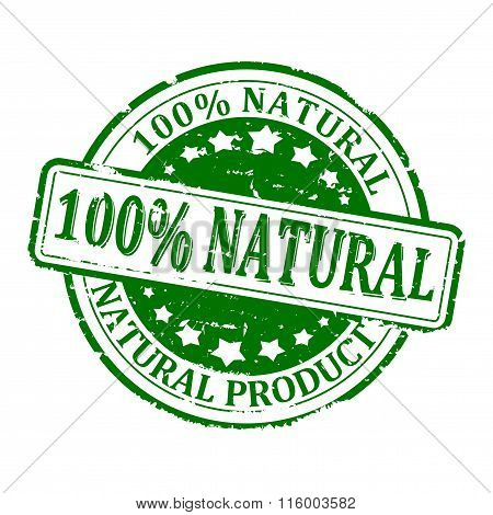 Damaged Green Round Stamped - 100% Natural Product - Vector