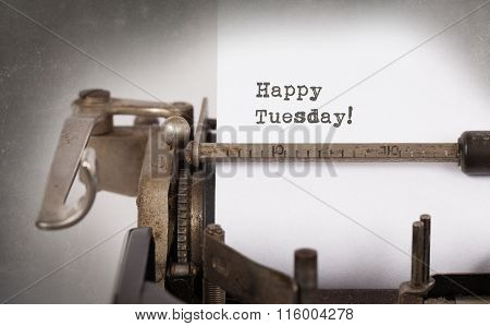 Vintage Typewriter Close-up - Happy Tuesday