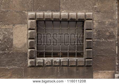 Renaissance barred window in Bergamo, Lombardy, Italy.