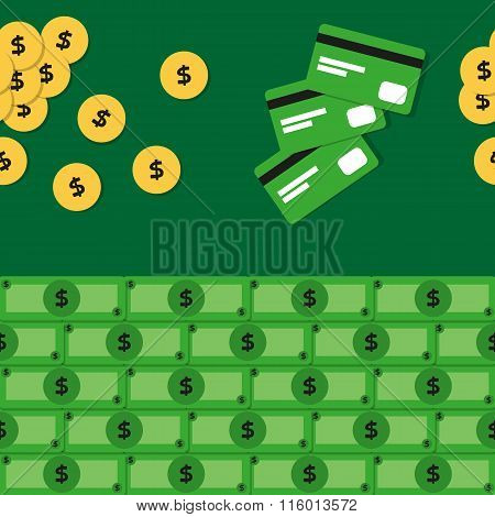 Seamless Pattern With Coins, Banknotes And Bank Cards.