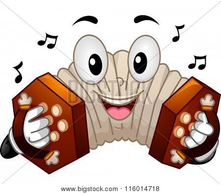 Mascot Illustration of a Concertina Pressing its Buttons