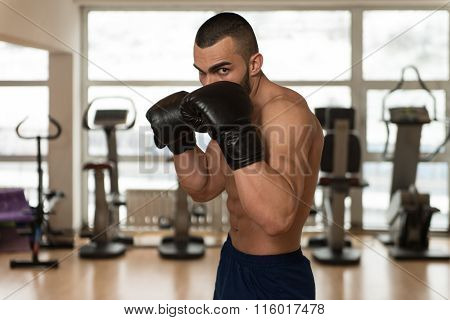 Young Athletic Man With Boxing Gloves
