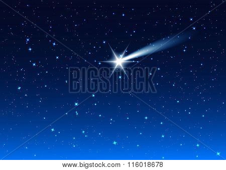 Night sky. Star drops in night sky make wish