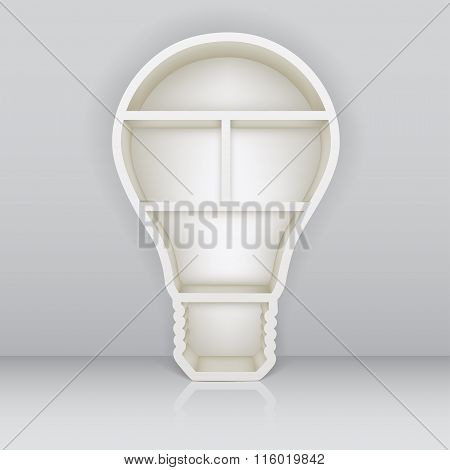 Book Shelf In The Form Of Lamp. Vector Illustration