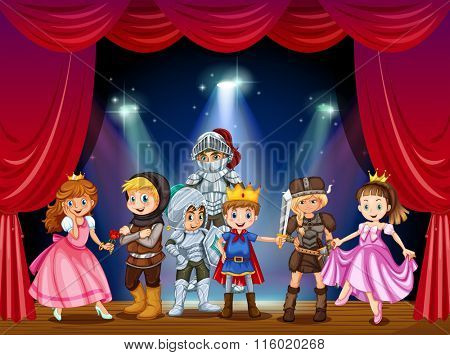 Stage play with children in costumes illustration