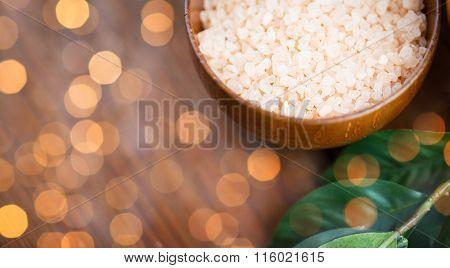 close up of himalayan pink salt in wooden bowl