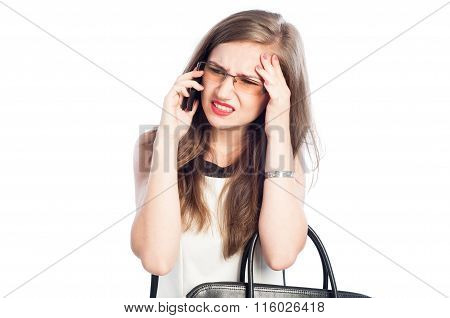 Stressed And Tired Business Woman Talking On The Phone.