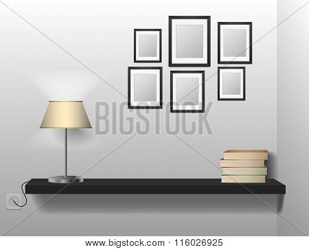 A bookshelf of book between bookends with table lamp. Space for your text.