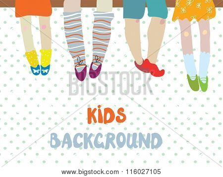 Kids Background  For Kindergarten Banner Or Card - Funny  Illustration