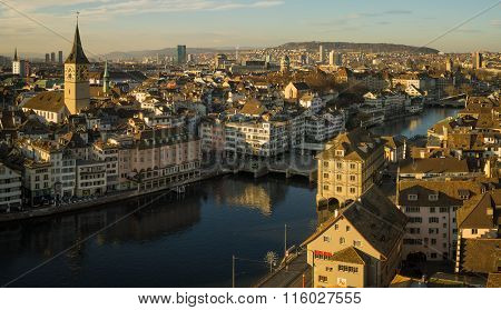 St. Peter Church And The Limmat, Zurich