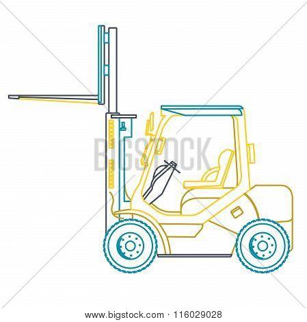 Blue yellow outline fork lift loader on white.