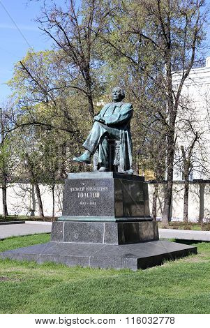 Monument To Russian Writer Alexei Tolstoy In Moscow
