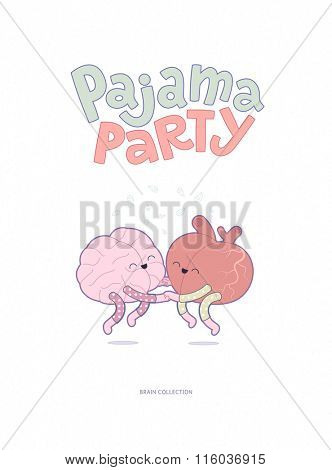 Pajama party - the vector outlined flat illustrated poster of a brain and a heart wearing pajamas jumping together holding their hands with lettering. A part of Brain collection.