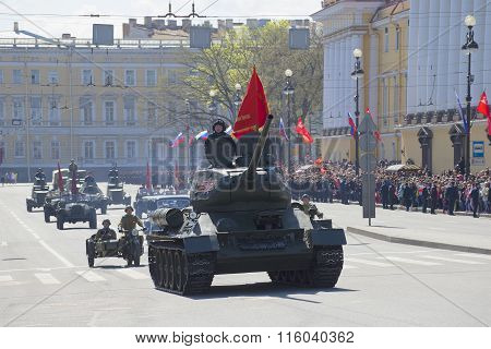 T-34 tank rides on the Palace Square in a parade in honor of Victory Day